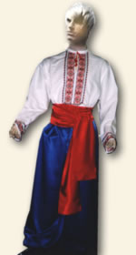 The man's Ukrainian national clothes consist of a shirt, trousers or wide trousers